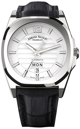 Armand Nicolet Unisex Automatic Watch with Silver Dial Analogue Display and Black Leather Strap A650AAA-AG-PI4650NA