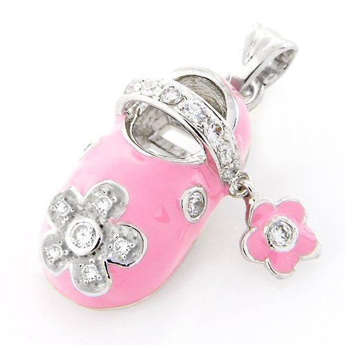 Bling Jewelry Sterling Silver Pave Flower Enamel Pink Baby Shoe Charm Pendant