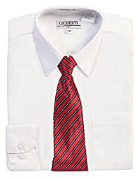 Gioberti Little Boy\'s Long Sleeve Dress Shirt + Stripe Clip Tie-7-White