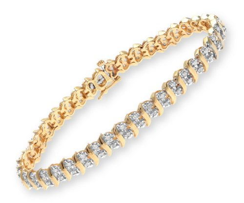 1 Carat Diamond Pave Setting Bracelet in 9ct Yellow Gold