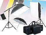 『料理撮影専科照明キット』モノブロックストロボ2灯照明機材セット+便利な横棒ブーム+背景付 cook-TB-250b