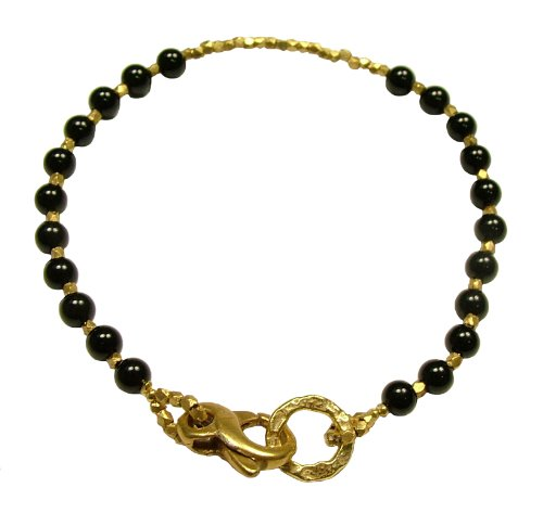 Designer Jewellery - Azuni 24 Carat Gold & Black Onyx Beaded Bracelet