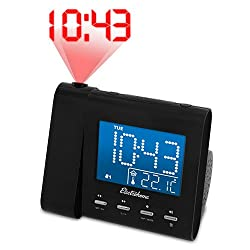Electrohome Projection Alarm Clock with AM/FM Radio, Battery Backup, Auto Time Set, Dual Alarm, Sleep Timer, Indoor Temperature/Day/Date Display with Dimming & Audio Input for Smartphones (EAAC601)