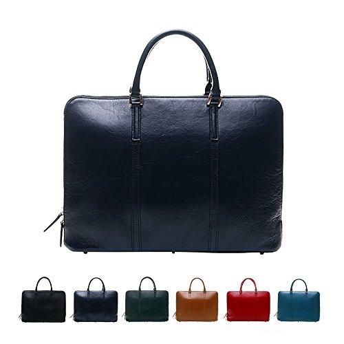 [牛本革]スリムビジネスバッグ Business Leather Factory (ブラックネイビー)
