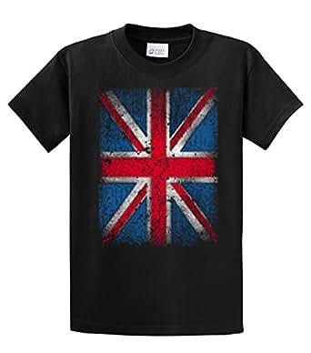 British Flag T-Shirt Distressed Flag Design-Black-Small