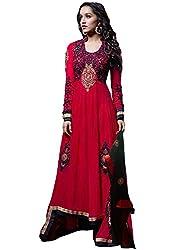 JINI Fashion Women's Georgette Lace Unstitched Anarkali Suit (nk2200_Red_Free Size)