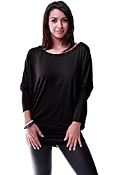 LeggingsQueen Women's Dolman Long Sleeve Modal Tunic Top