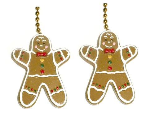 Set of Two Gingerbread Men Ceiling Fan Pull Chain