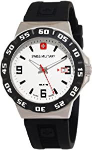 Swiss Military Calibre Men's 06-4R1-04-001 Racer White Dial Black Rubber Watch