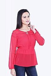 Skatti Womens Chiffon Long Sleeve Top (Sk_138_15Redgirl_S _Red _Small)