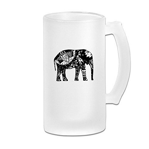 Elephant Print Art Cool Beer Wine Glass Mug 16 Ounces 500ml Beverage Cup