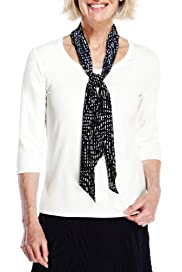 Classic 3/4 Sleeve Top with Scratch Spotted Scarf [T58-9326-S]