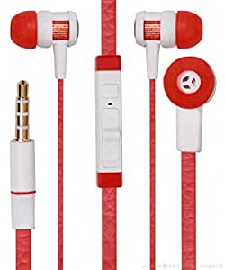 Jkobi Modern Chrome In Earbuds Earphones Headset Handsfree Compatible For Motorola Moto E  2nd Gen  / Moto E2  Red available at Amazon for Rs.9575