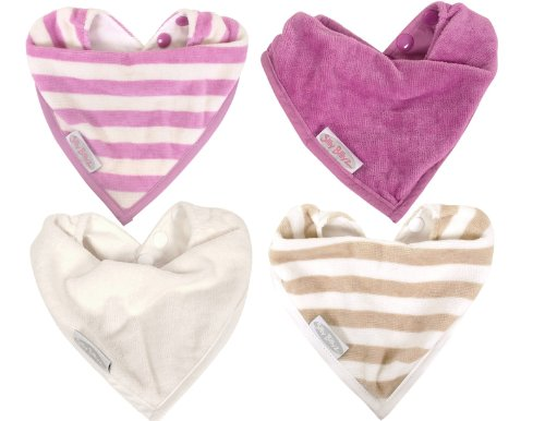 4 Pack Water Resistant Organic Cotton Bandana Bibs 0-2 years (Girls (plum/snow))