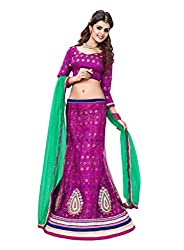 Vibes Womens Net Patch Work Lehenga Dress Material (L4-22 _Pink _Free Size)