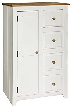 NEW CAPRI 1 DOOR 4 DRAWER TALLBOY WARDROBE IN WHITE AND WAXED PINE