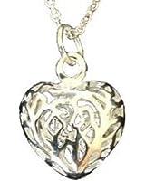 En filigrane Open Heart Pendant Qualité fine Bijoux Argent Femme Ensemble de boucles d'oreilles et le collier!