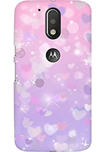 AMEZ designer printed 3d premium high quality back case cover for Moto G4 (purple sparkle hearts)