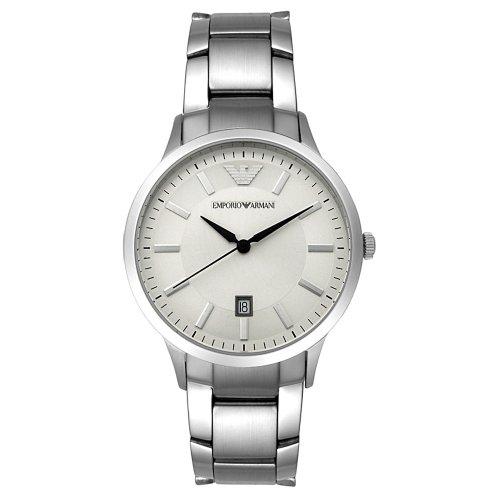 Emporio Armani AR2431 - Reloj analógico de cuarzo para hombre con correa de acero inoxidable bañado, color plateado