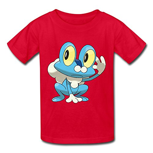 [Ambom Youth Froakie Kids Boys And Girls Short Sleeves T-Shirt Size M Red] (Froakie Costume)