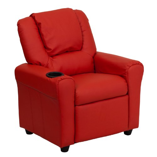 "27"" Contemporary Red Vinyl Kids Recliner w/ Cup Holder & Headrest (1 Chair) - FF-DG-ULT-KID-RED-GG"