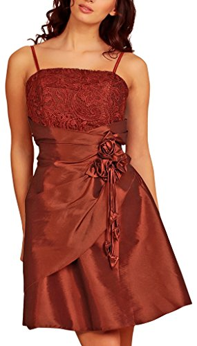 Knee Length Layered Evening Dresses Lace Taffeta Short Satin Flowers Party Cocktail Dress Womens Ladies Burgundy Size 16