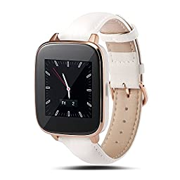 LEMFO LF10 Bluetooth Smart Watch For IOS Android Phone with MTK2502 Heart Rate Monitoring IPS Full HD Screen Leather Watch Band Waterproof (White)