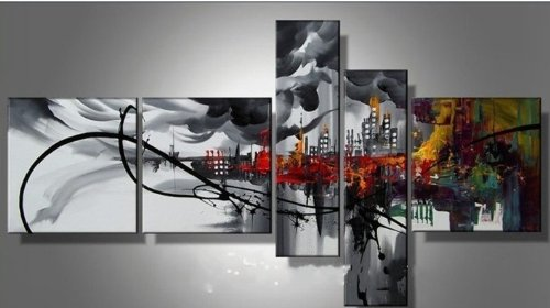 100% Hand-painted Free Shipping Wood Framed Prosperous City High Q. Home Decoration Modern Abstract Oil Painting on Canvas 5pcs/set Mixorde
