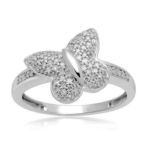 Jewelili 1/6 cttw White Diamond Sterling Silver Butterfly Ring - Size 7