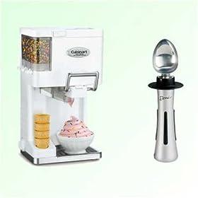Cuisinart ICE45 White Soft Serve Ice Cream Maker + Deni Electric Ice Cream Scoop