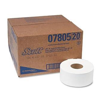 """Scott JRT Jr. Jumbo Roll Toilet Paper (07805) 2-PLY, White, 3.55"""" Width x 1000' Length (Case of 12)"""