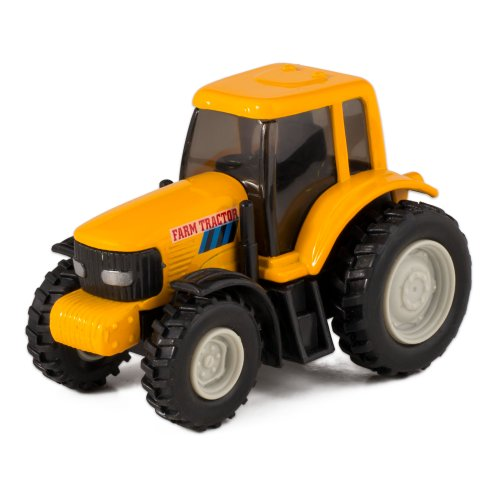 Yellow Die Cast Metal Farm Tractor Toy with Pull Back Action