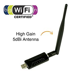 GMYLE Wireless N/G 802.11n/g USB WiFi WLAN Network Adapter (Realtek RTL8191SU) with high Gain 5dBi Antenna Up to 300Mbps