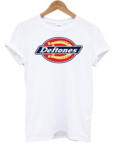 T-shirt Uomo - Deftones maglietta con stampa rock 100% cotonee LaMAGLIERIA, S, Bianco