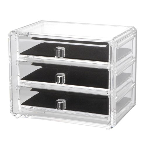 Us Acrylic® Deluxe 3-Drawer Jewelry Chest With Removable Drawers And Liners