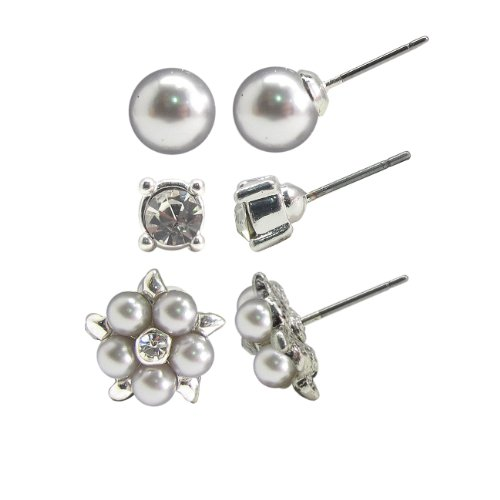Light Grey Simulated Pearl, Crystal Grey Pearl Cluster and Crystal Stud Earrings