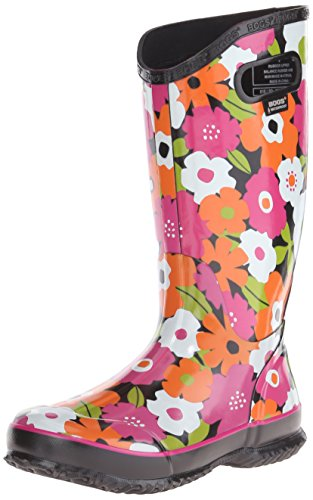 Bogs Women's Spring Flowers Rain Boot, Black/Multi, 9 M US (Bogs Rain Boots Women compare prices)