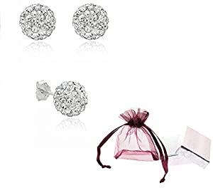 Authentic stud earrings, Manufacturer:silverjewelryforever, our description, Authentic Diamond Color Crystal Ball Stud Earrings Sterling Silver 2 Carats Total Weight Special Limited Time Offer Super Sale Price, Comes with a Free Gift Pouch and Gift Box
