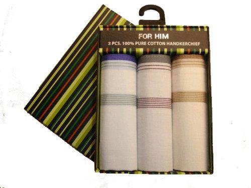 Mens 100% Cotton Handkerchief Set - Presentation Boxed Set of 3 - Assorted Colours