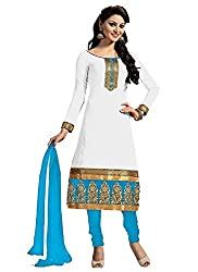Success fashion Women's Cotton Semi Stitched Dress Material (cotton_Free size_ White Blue )