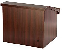 Displays2go 12.6 Inch H Tabletop Portable Podium, Folding, Angled Surface with Lip, Storage Area, Mahogany (LCTFLDNGOM)