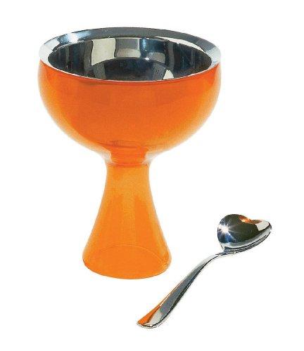 A di Alessi BIG LOVE Coupe à glace orange et cuillère à glace en acier inoxydable