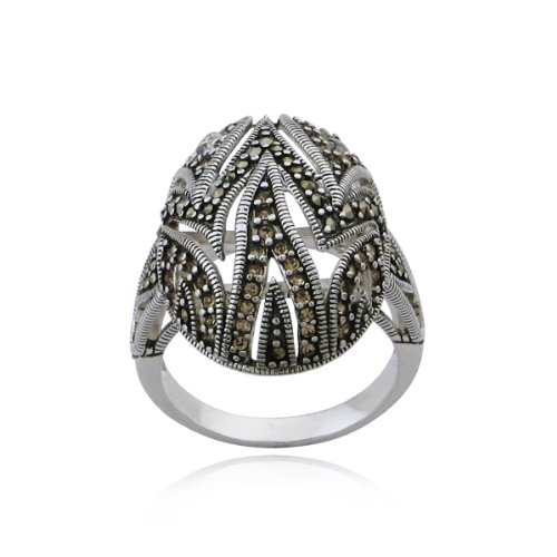 Sterling Silver Marcasite and Citrine Cubic Zirconia Oval Ring, Size 8