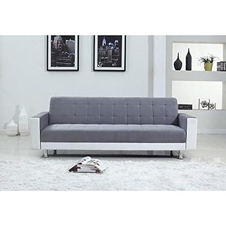 LUXURY Sofá hinchable 3 plazas, 220 x 190 x 81 cm, imitación de piel, microfibra, color blanco y gris