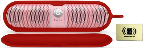 Beats By Dr. Dre Pill Special Edition Portable Speaker (Nicki Minaj Pink) Bundle With Beats Pill Silicone Sleeve (Red) And Custom Designed Zorro Sounds Cleaning Cloth