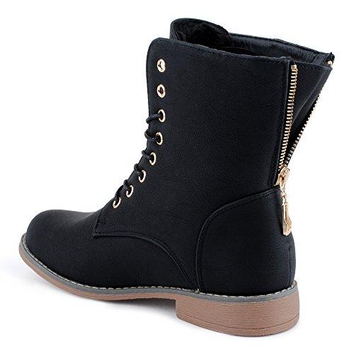 Damen Schnür Stiefeletten Biker Boots Stiefel Warm Gefütterte Schuhe Schwarz/gefüttert EU 37