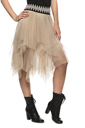 Womens-Tulle-Handkerchief-Fairy-Tale-Nymph-Ballet-Evening-Party-Tutu-Full-Skirt