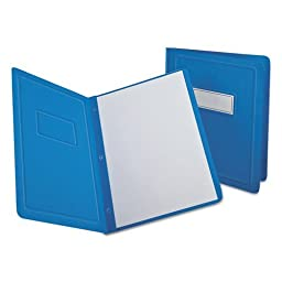 Report Cover, 3 Fasteners, Panel and Border Cover, Letter, Light Blue, 25/Box