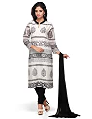 Off White Printed 3/4 Sleeves Churidar Kameez