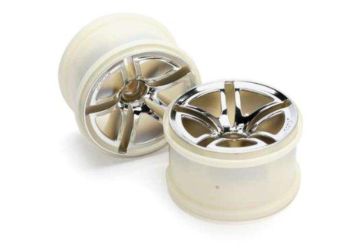 Traxxas 5574 Front Chrome Twin Spoke Wheels 2.8, Jato, 2-Piece